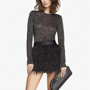 Express Black Mini Fringe Skirt